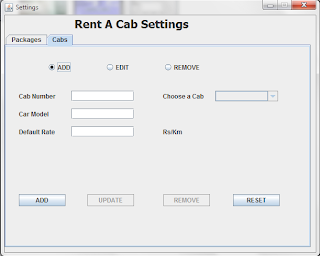 Cab Settings for Invoice Generator Core Java Project