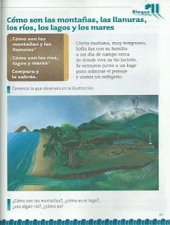 Apoyo Primaria Exploración de la Naturaleza y la Sociedad 2do Grado Bloque II Lección 2 Cómo son las montañas, las llanuras, los ríos, los lagos y los mares