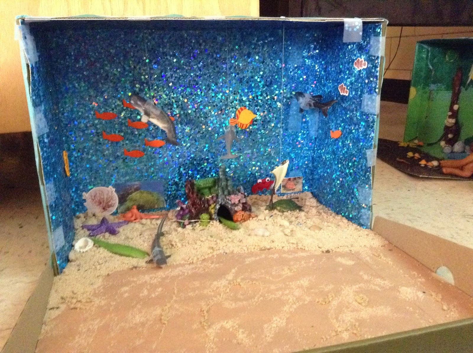 The cougars roar this diorama of the coral reef biome was made by savannah russell she has real sand and real animal toys sciox Image collections