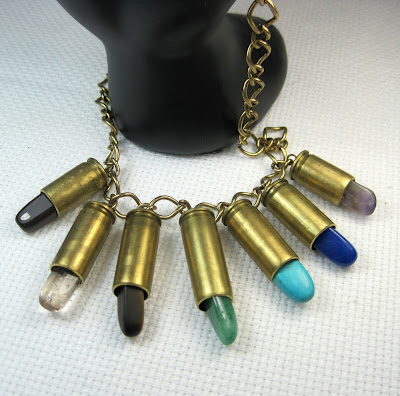 Rainbow Bullet Casing Necklace