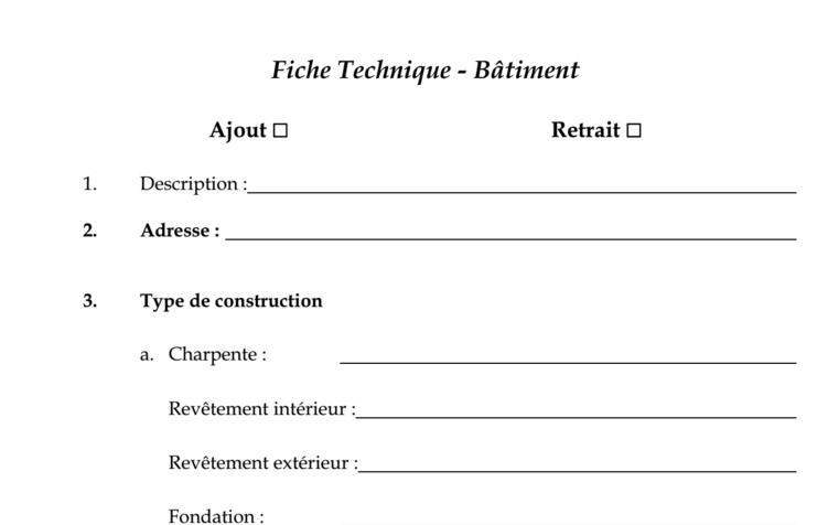 exemple de fiche technique b timent cours g nie civil outils livres exercices et vid os. Black Bedroom Furniture Sets. Home Design Ideas