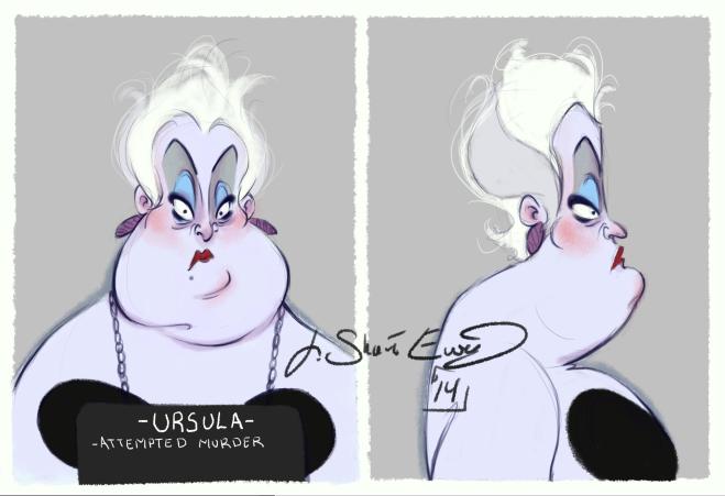 disney villains mugshot ursula illustration