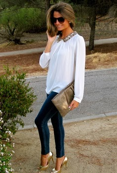 White blouse with sequin collar + skinnies + metallic shoes