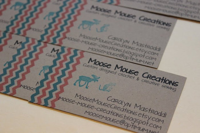 Moose mouse creations like a kid in a candy store for Etsy shop business cards