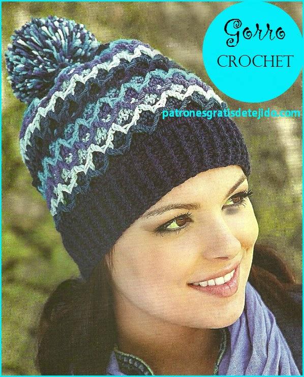 Gorro crochet con pompon