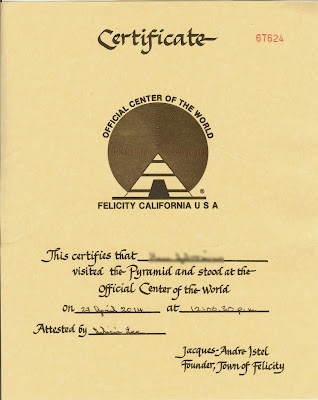 Certificate You Get When You Visit the Center of the World
