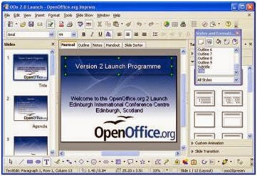tampilan program presentasi OpenOffice Impress