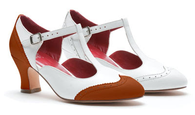 1920s reproduction women's heels in white or white and tan spectator style