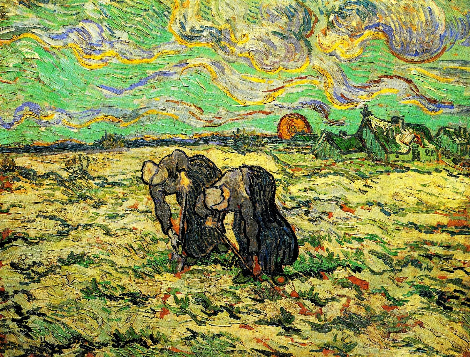 Duas agricultoras cavando a terra