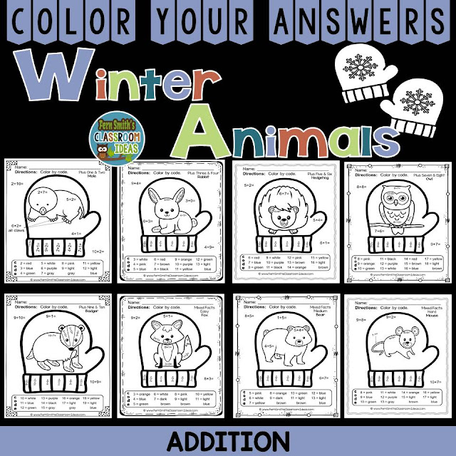 Fern Smith's Classroom Ideas Winter Math: Winter Fun! The Mitten Winter Animals Addition Facts - Color Your Answers Printables at TeachersPayTeachers. #TpT