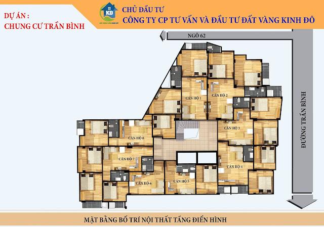 Mặt bằng các căn hộ chung cư mini Trần Bình Cầu Giấy giá rẻ