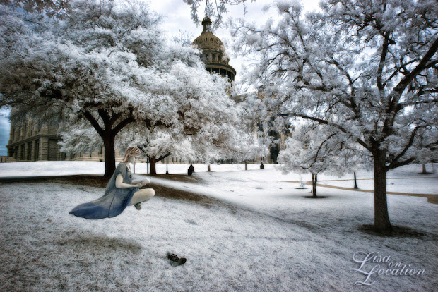 infrared, Canon 50D, levitation, girl reading book, Texas capitol building, Lisa On Location Photography, New Braunfels, San Antonio, San Marcos, Austin
