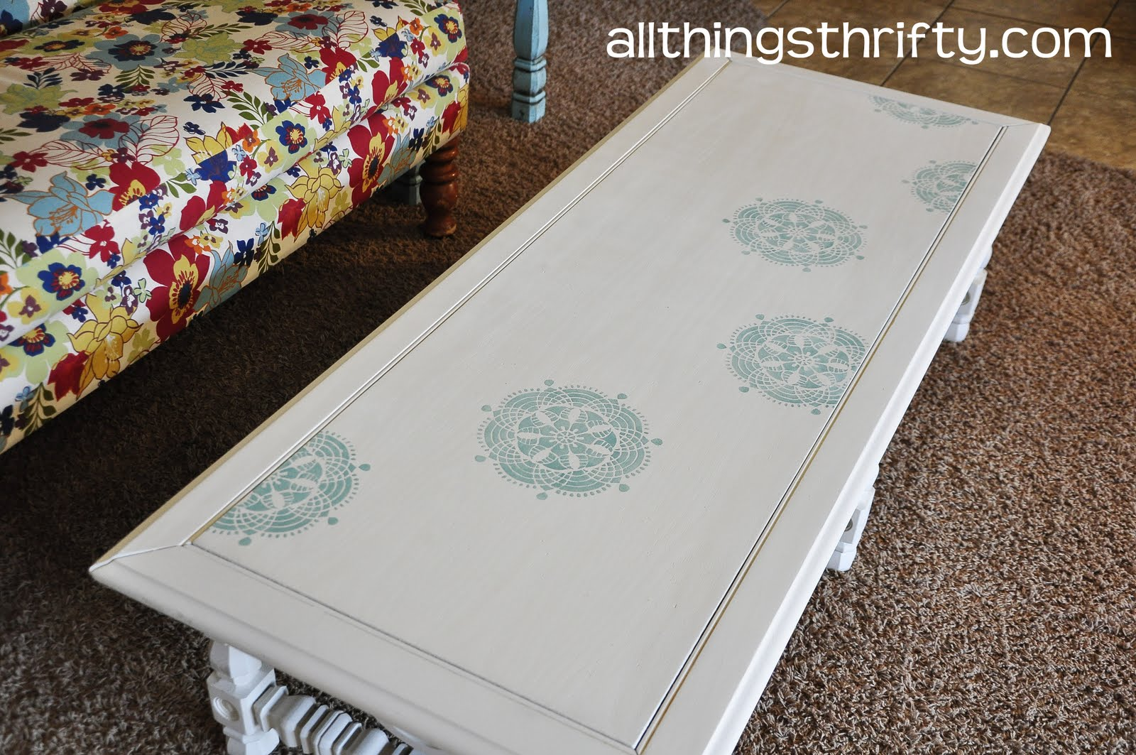 Yard Sale Coffee Table Transformation Via Martha Stewartu0027s Decorative Paint  Line By Plaid | All Things Thrifty