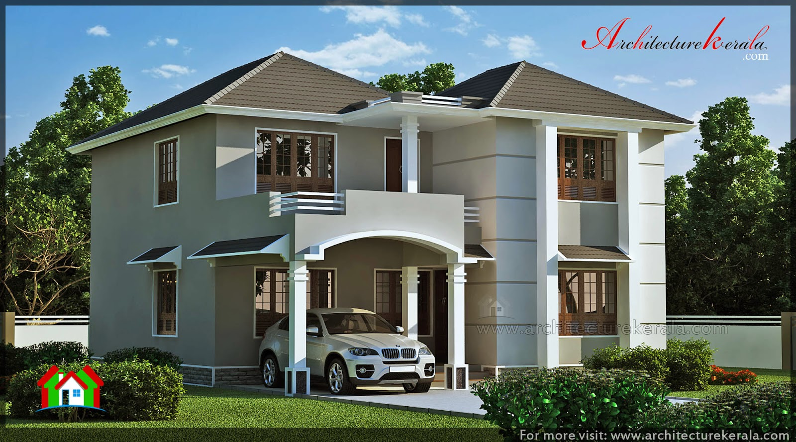 Modern style 2000 square feet house elevation for Modern square house