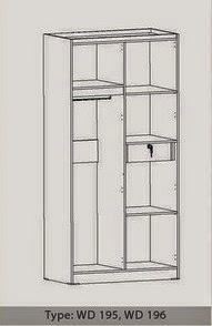 Tampak Dalam Lemari Pakaian 2 Pintu WD 196 Benefit Furniture