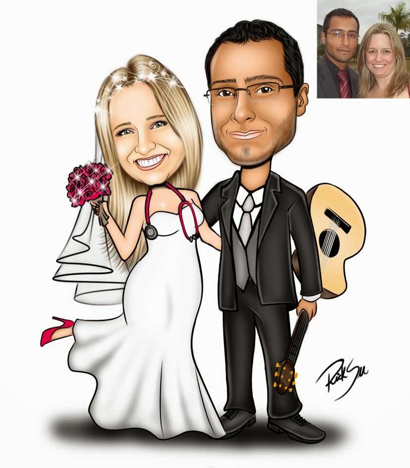 caricatura de casal com violão