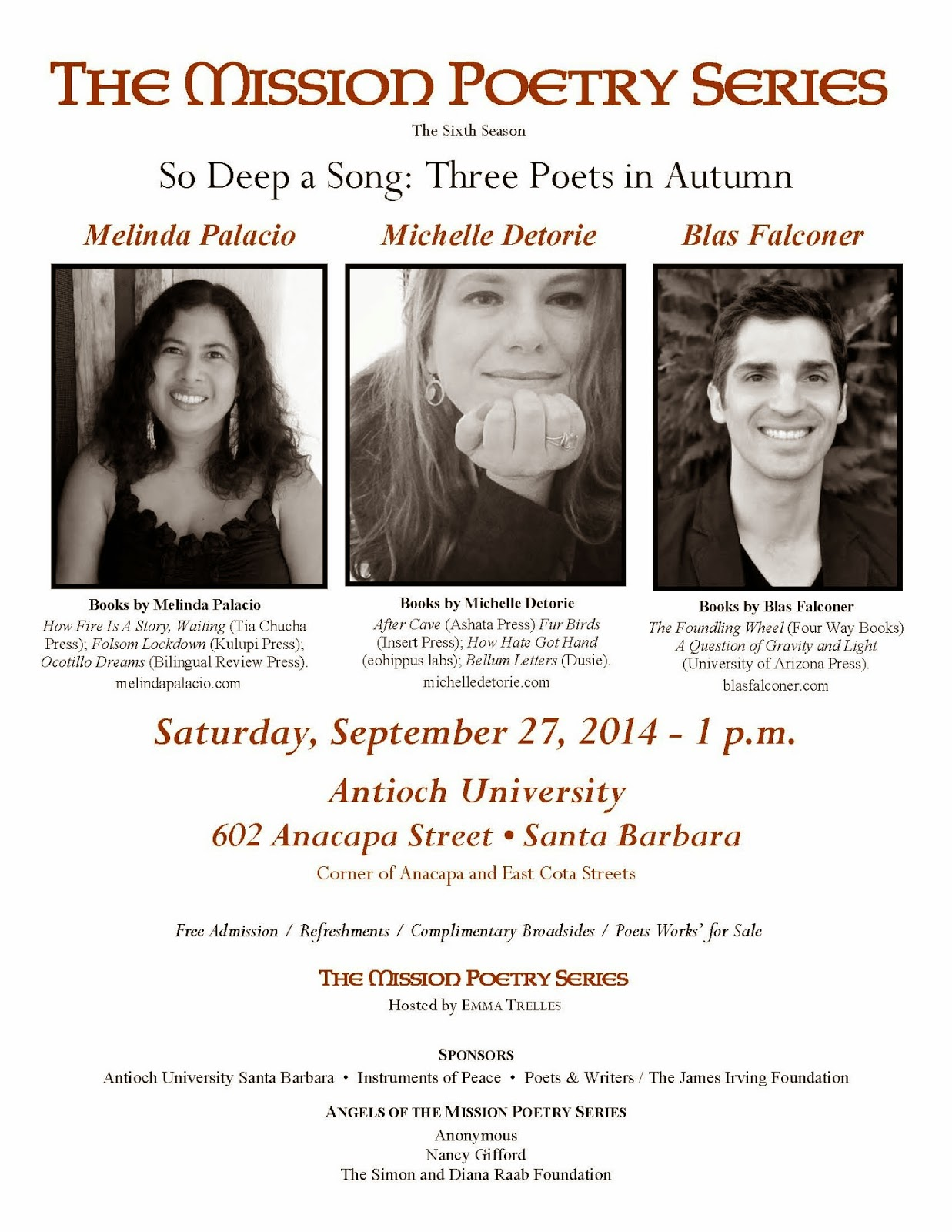 The Reading Will Be Held At Antioch University Santa Barbara €� 602 Anacapa  Street €� Santa Barbara, Ca, And Is Free And Open To The Public