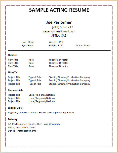 Blank theater resume