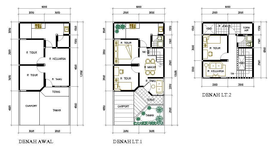 Denah Rumah 2 Lantai Type 36