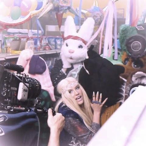 ke$ha con un coniglio gigante sul set del video di c'mon