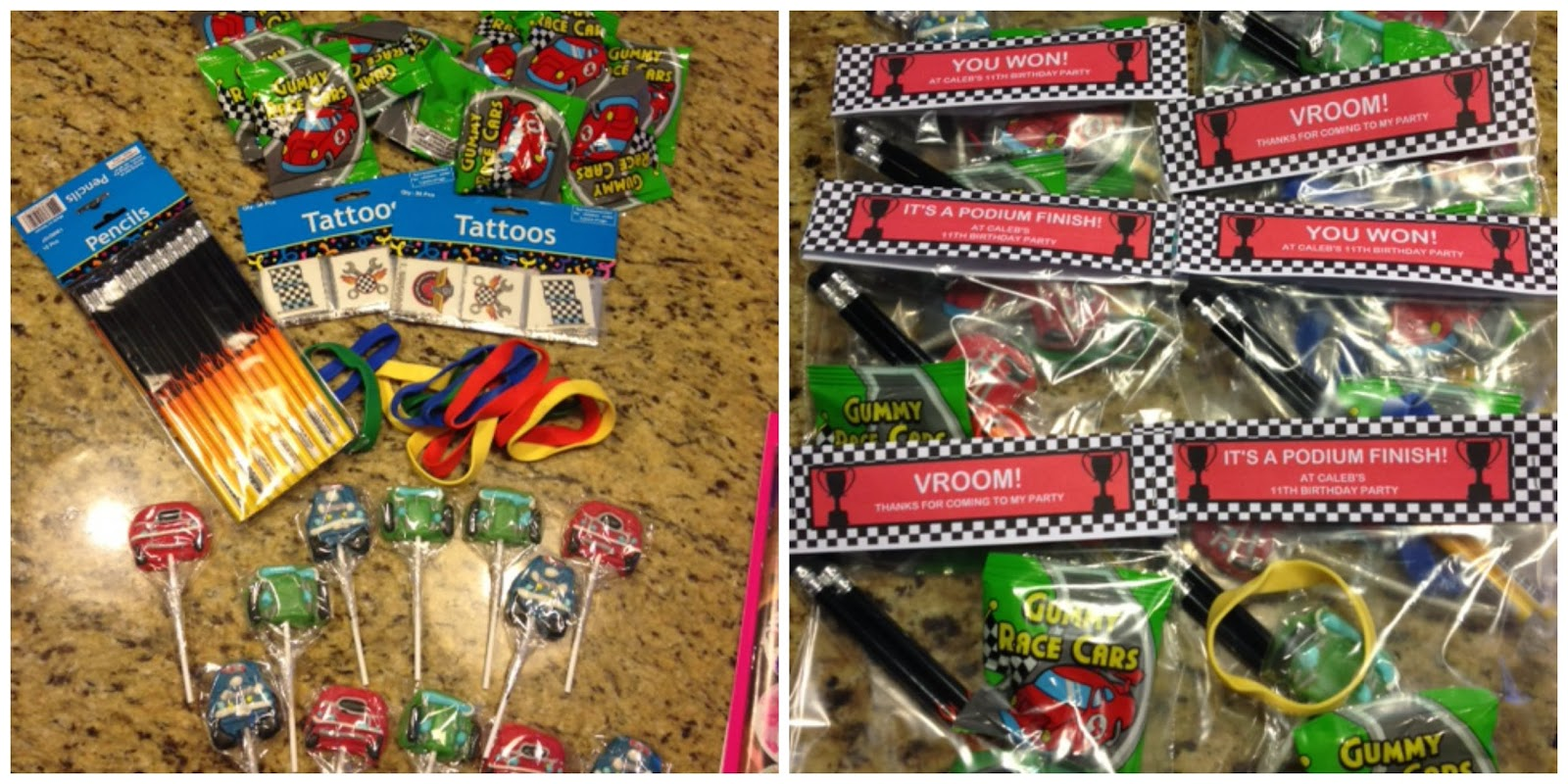 Each Bag Has Two Flame Pencils A Race Car Sucker Some Gummies Racing Tattoos And Pit Stop Rubber Bracelets All From Oriental Trading Company