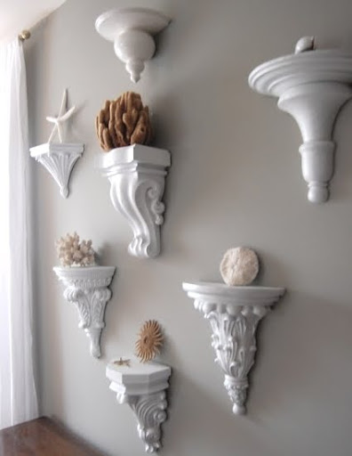 Decorating Ideas For Wall Sconces : Wall Sconce Shelves to Display Collections - Completely Coastal