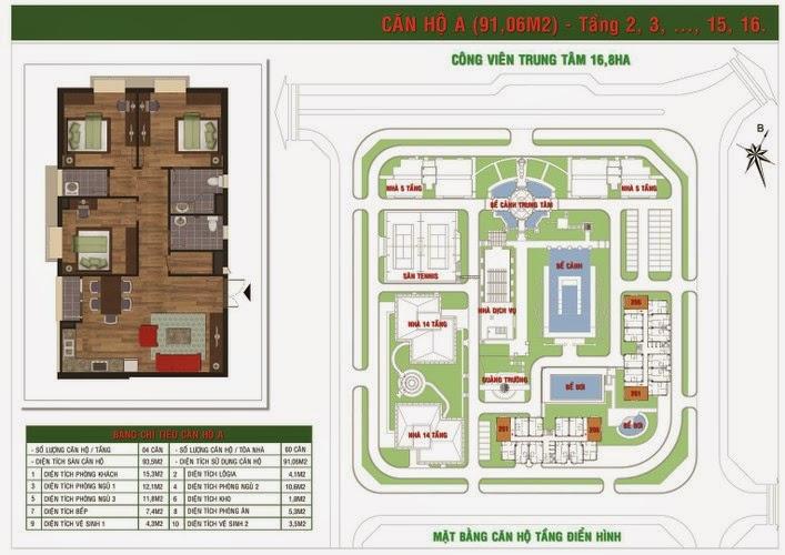 căn 91 m2 chung cư Green House