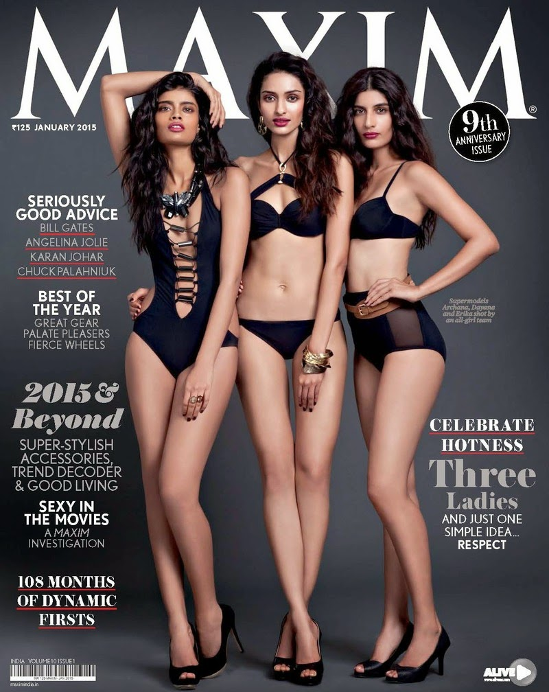 Archana Akil Kumar, Dayana Erappa and Erika Packard - Maxim, India, January 2015