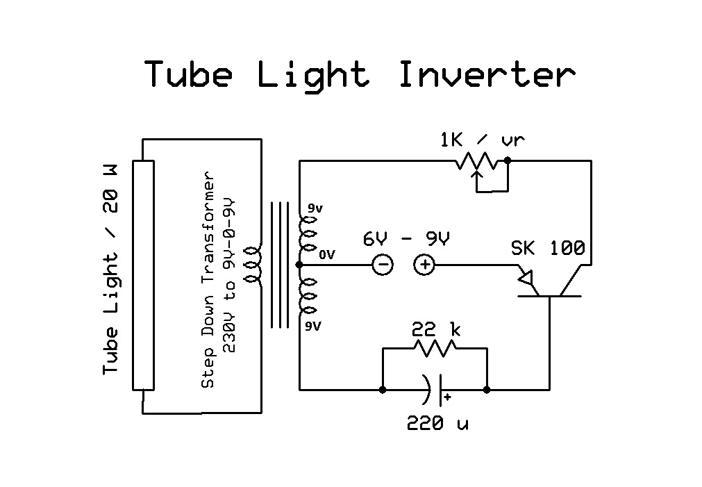 electronic circuits  low cost tube light inverter
