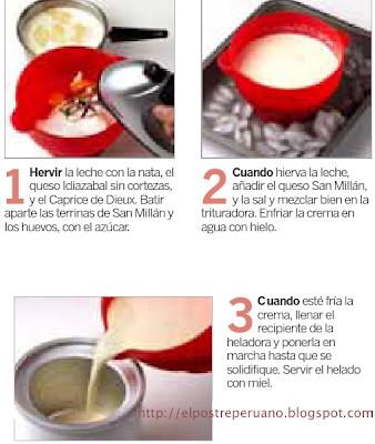 Postre de HELADO DE QUESO CON MIEL - Receta / Recipe - Dessert