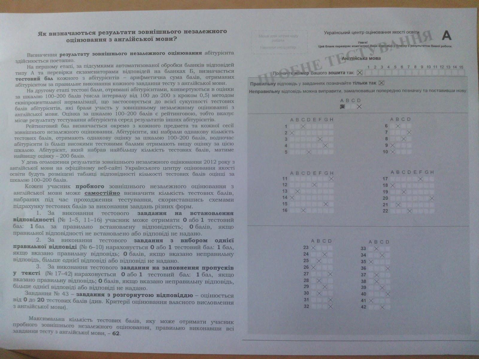 Таблица перевода тестовых баллов в оценку зно основной сессии зно 2014 в материале