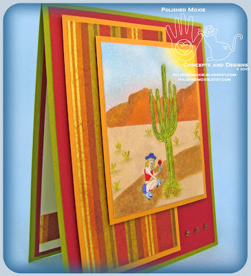 Image of my handmade garden desert card at a right angle to show its dimensional elements.