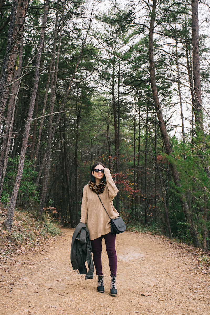 travel, georgia, fashion, style, outfit, true religion , joan smalls, joa, camel sweater, leopard scarf, sorel, outdoor, explore, lifestyle, coach, gant, tallulah gorge park