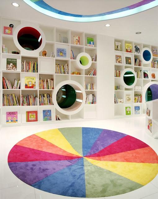 مكتبة الأطفال في الصين مكتبة رائعة بكل ألوان الطيف The-Kid-Republic-6
