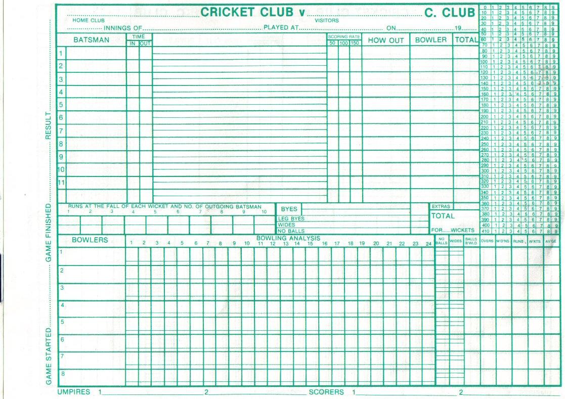 scorecard cricket