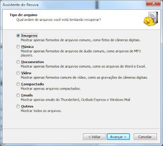 Recuperação de arquivos apagados com o programa Recuva