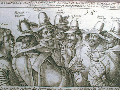 Historic print of Guy Fawkes and his accomplices
