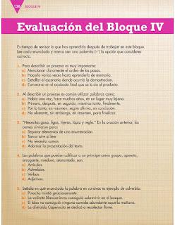 Apoyo Primaria Español 3er grado Bloque 4 Evaluación del Bloque IV