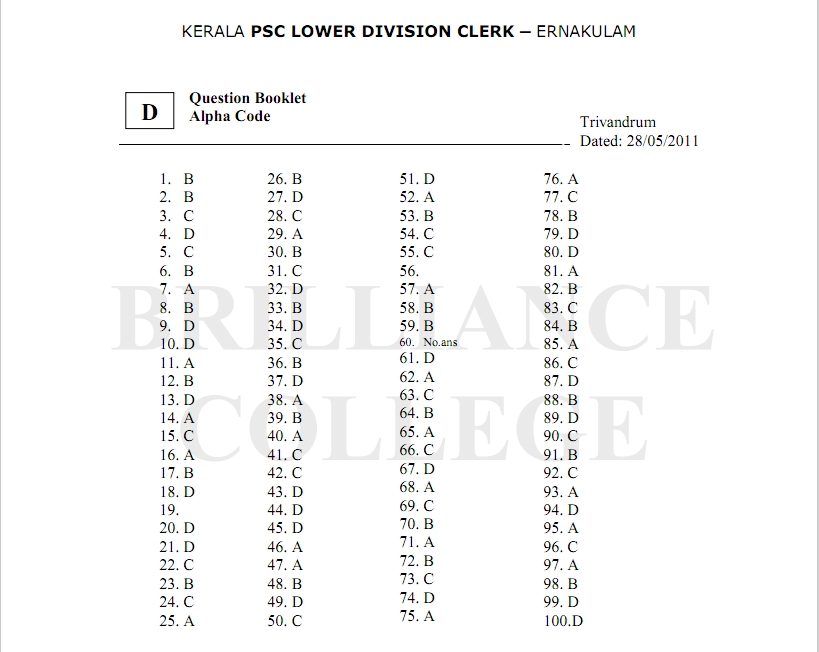 Kerala psc portal 2011 click here for kerala psc ldc answer key for thrissur district thecheapjerseys Choice Image