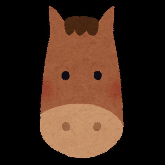 細長い馬の顔のイラストです。 : 馬 年賀状 : 年賀状