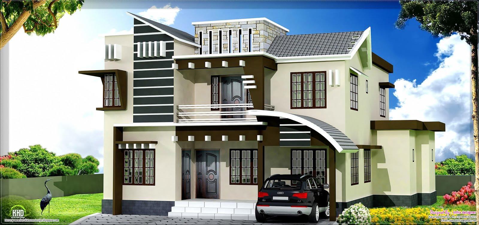 yard modern mix home design by Infra designer, Kasaragod, Kerala