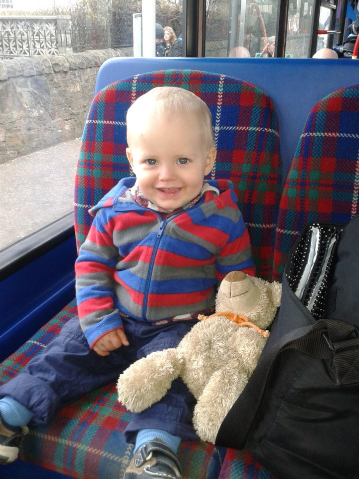 My nephew Jack riding the bus in Edinburgh