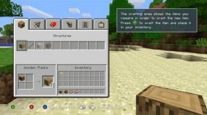 Minecraft xbox 360 crafting screen