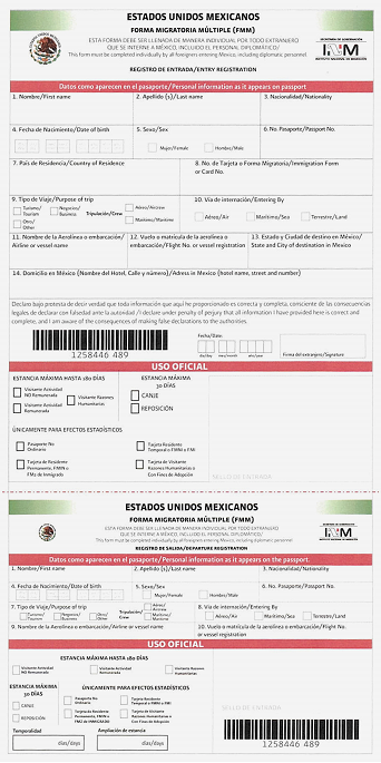 Immigration Form FMM Mexico