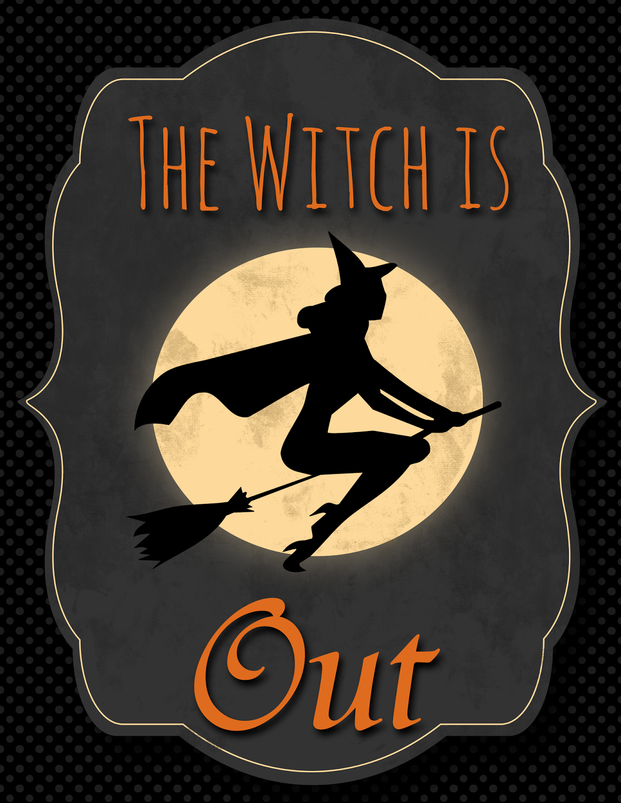 Free Halloween The Witch Is In & The Witch Is Out  ~ 045651_Halloween Door Signs Printable