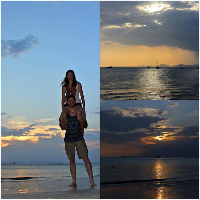 sunset in railay beach thailand