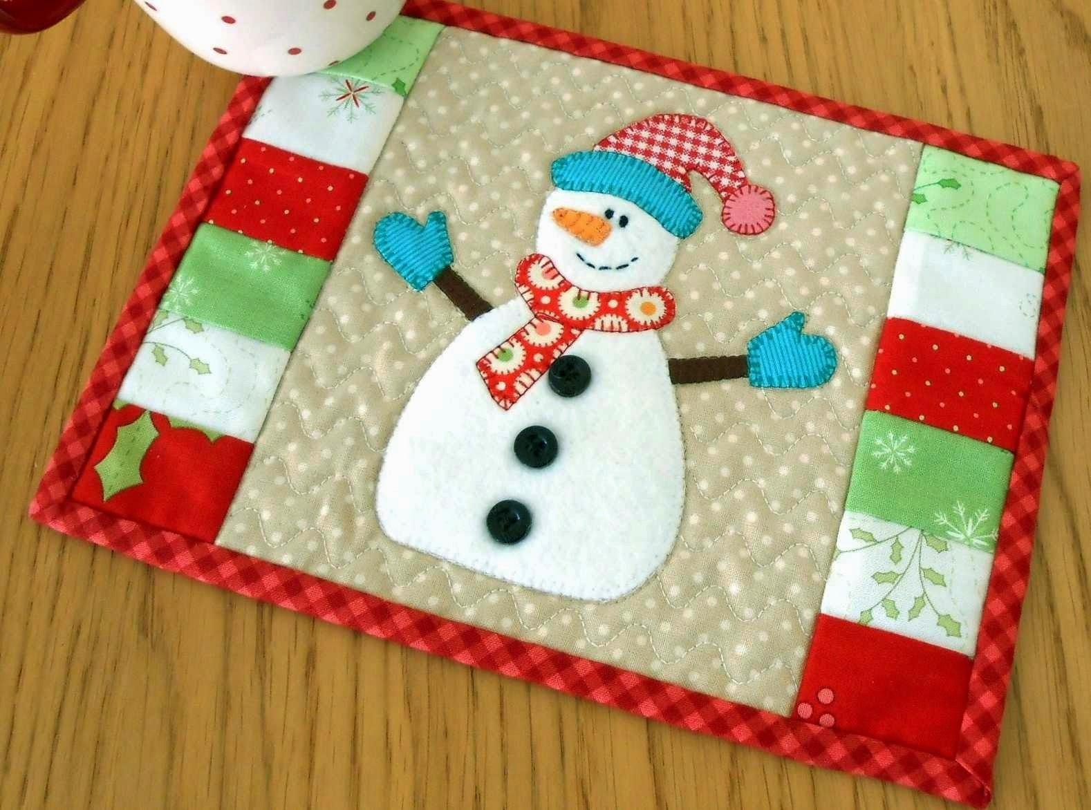The patchsmith snowman mug rug hats and mittens - Individuales para mesa ...