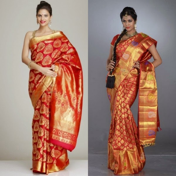 Tomato Red Color Silk Sarees