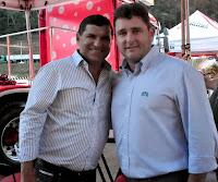Prefeitos Helil Cardozo, de Itaboraí, e Arlei, de Teresópolis, na abertura da 30ª Feport