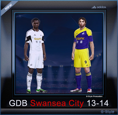 PES 2014 Swansea City 13-14 GDB Kits by G-Style
